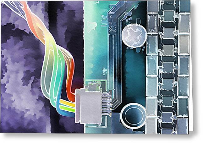 Component Mixed Media Greeting Cards - Computing Greeting Card by Steve Ohlsen