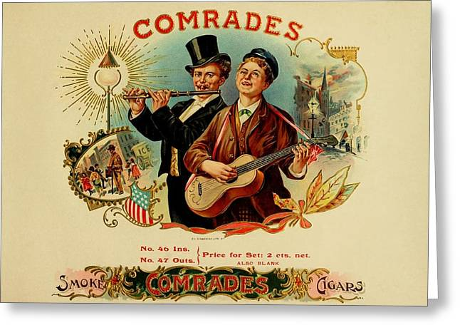 Cigar Drawings Greeting Cards - Comrades Vintage Cigar Advertisement Greeting Card by Movie Poster Prints