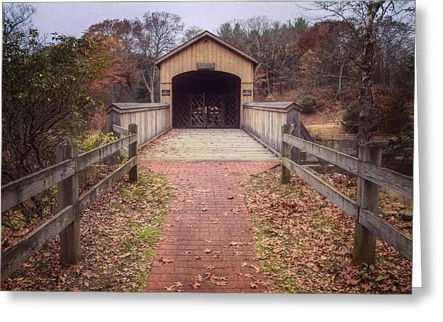 East Hampton Greeting Cards - Comstock Covered Bridge 2 Greeting Card by Joan Carroll