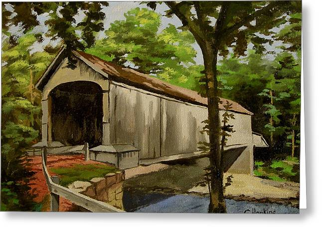 Saybrook Greeting Cards - Comstock Covered Bridge East Hamptom Connecticut Greeting Card by Christine Hopkins
