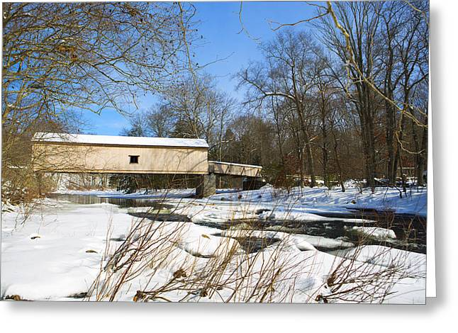 Connecticut Covered Bridge Greeting Cards - Comstock Covered Bridge in Winter. Greeting Card by Diane Diederich