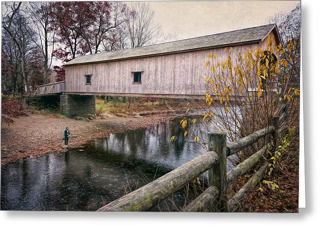 Covered Bridge Greeting Cards - Comstock Covered Bridge Greeting Card by Joan Carroll