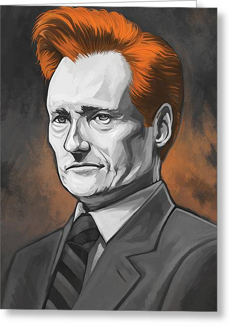 Comedian Mixed Media Greeting Cards - Conan OBrien Artwork Greeting Card by Sheraz A