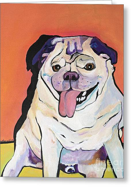 Pug Prints Greeting Cards - Conan Greeting Card by Pat Saunders-White