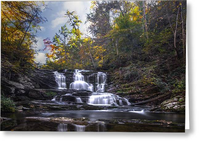 Autumn Leaf On Water Greeting Cards - Conasauga Falls Greeting Card by Debra and Dave Vanderlaan