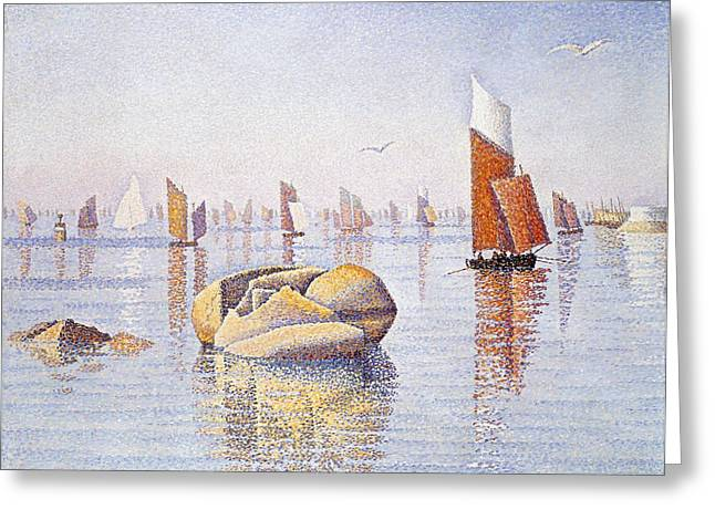 Blue Sailboat Greeting Cards - Concarneau   Quiet Morning Greeting Card by Paul Signac