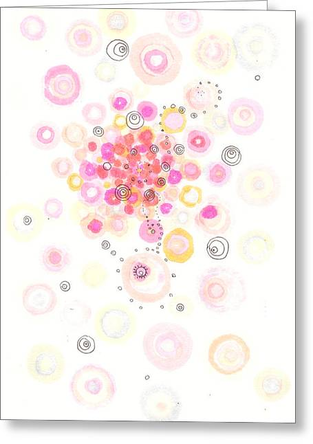 Disk Drawings Greeting Cards - Concave bubblegum Greeting Card by Regina Valluzzi