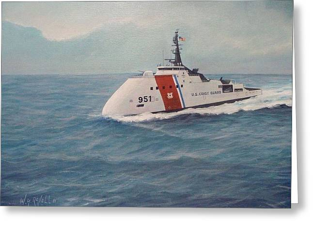 Law Enforcement Paintings Greeting Cards - Concept design for Off Shore U. S. Coast Guar Cutter Greeting Card by William H RaVell III