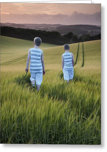 Concept Photographs Greeting Cards - Concept landscape young boys walking digital painting Greeting Card by Matthew Gibson