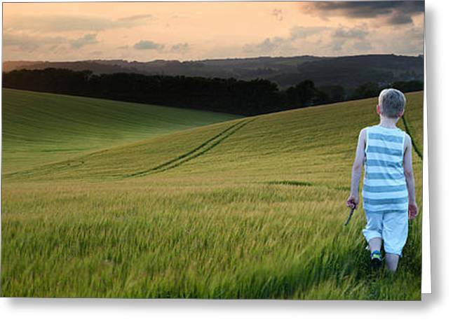 Concept panorama landscape young boy walking through field at su Greeting Card by Matthew Gibson