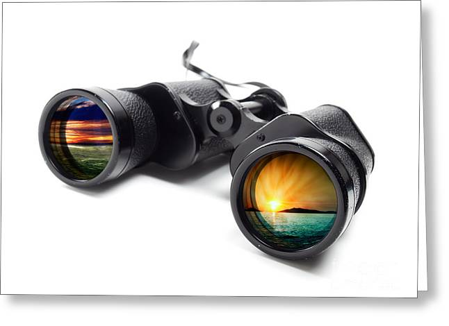 Observer Greeting Cards - Conceptual binoculars Greeting Card by Sinisa Botas