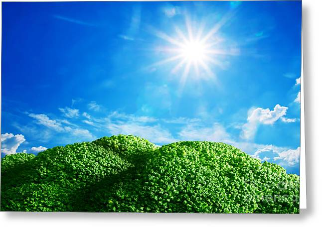 Broccoli Greeting Cards - Conceptual field with broccoli land Greeting Card by Michal Bednarek