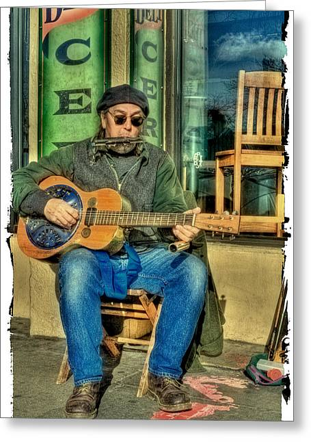 Street Musicians Greeting Cards - Concert at the Deli Greeting Card by David Patterson