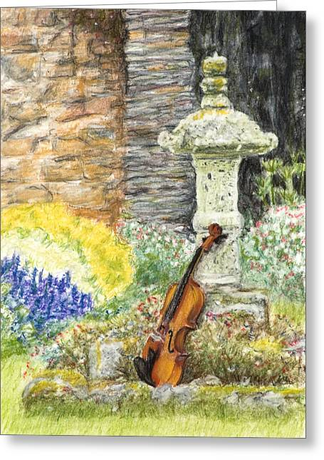Organic Pastels Greeting Cards - Concert dans le Jardin Greeting Card by Kate Sumners