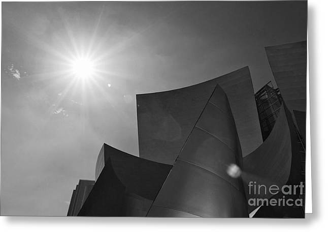 Concert Flare - Walt Disney Concert Hall From Downtown Los Angeles In Black And White Greeting Card by Jamie Pham