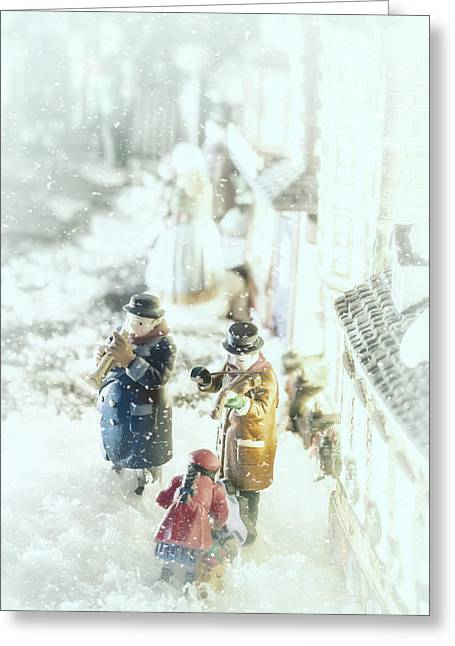 Christmas Village Greeting Cards - Concert In The Snow Greeting Card by Caitlyn  Grasso