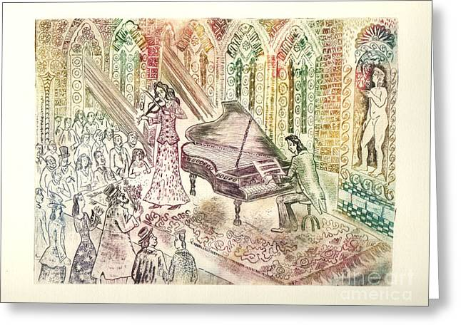 Drypoint Greeting Cards - Concert Greeting Card by Milen Litchkov