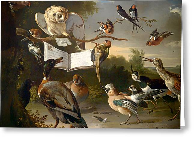 Lovely Owl Greeting Cards - Concert of Birds Greeting Card by Hondecoeter