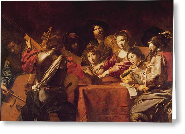 Concert With Eight People Greeting Card by Valentin de Boulogne