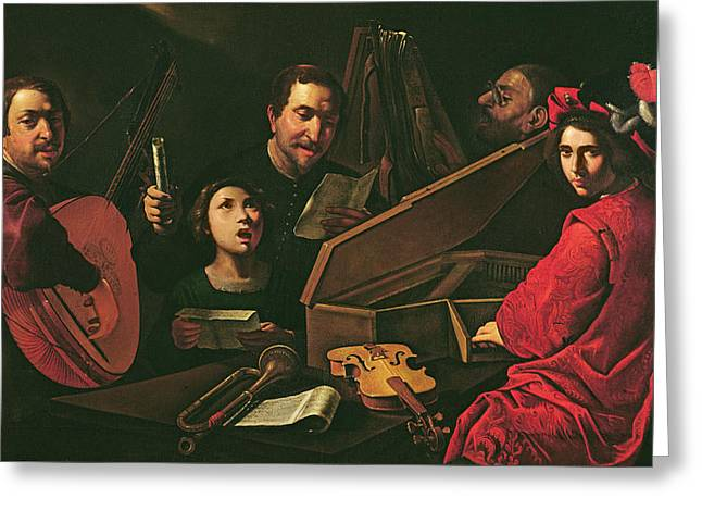 Playing Musical Instruments Greeting Cards - Concert With Musicians And Singers, C.1625 Oil On Canvas Greeting Card by Pietro Paolini