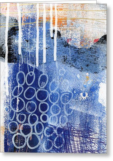 Contemporary Abstract Mixed Media Greeting Cards - Concerto Two- colorful abstract art Greeting Card by Linda Woods