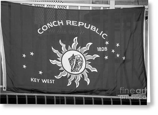 Liberal Greeting Cards - Conch Republic Flag Key West - Black and White Greeting Card by Ian Monk