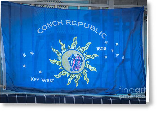 1828 Greeting Cards - Conch Republic Flag Key West - HDR Style Greeting Card by Ian Monk