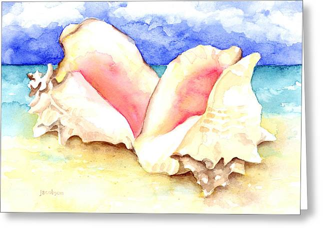 Seashell Picture Paintings Greeting Cards - Conch Shells on Beach Greeting Card by Pauline Jacobson
