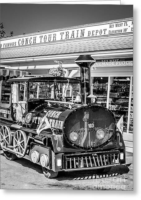 Liberal Greeting Cards - Conch Tour Train 1 Key West - Black and White Greeting Card by Ian Monk