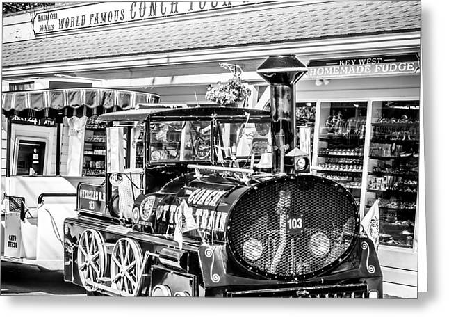 Liberal Greeting Cards - Conch Tour Train 2 Key West - Square - Black and White Greeting Card by Ian Monk