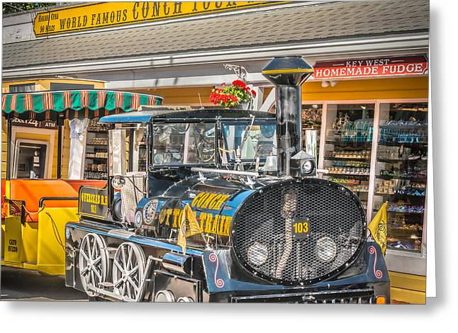 Liberal Greeting Cards - Conch Tour Train 2 Key West - Square - HDR Style Greeting Card by Ian Monk