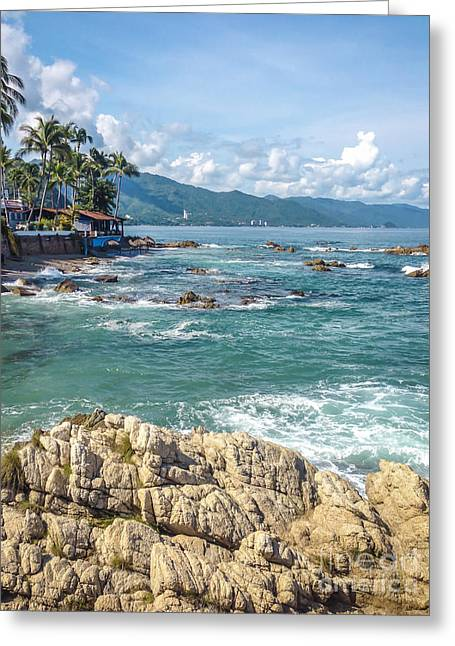 China Beach Greeting Cards - Conchas Chinas Beach Banderas Bay Puerto Vallarta Mexico Greeting Card by Andre Babiak