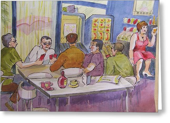 Catalunya Paintings Greeting Cards - Conchitas Bar Greeting Card by Molly Farr