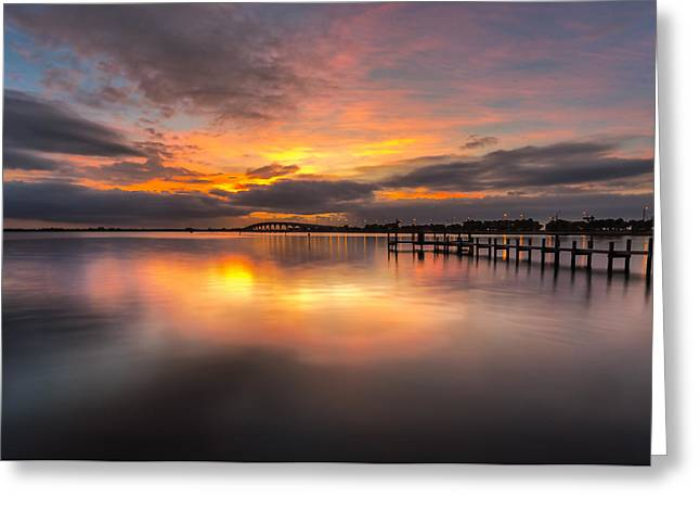 Seacape Greeting Cards - Conchy Joes Sunrise Greeting Card by William A Leonard