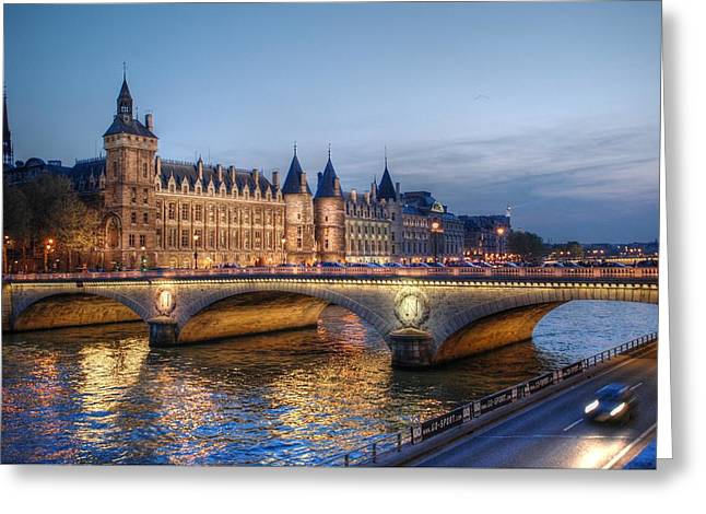 Palace Greeting Cards - Conciergerie and Pont Napoleon at Twilight Greeting Card by Jennifer Lyon