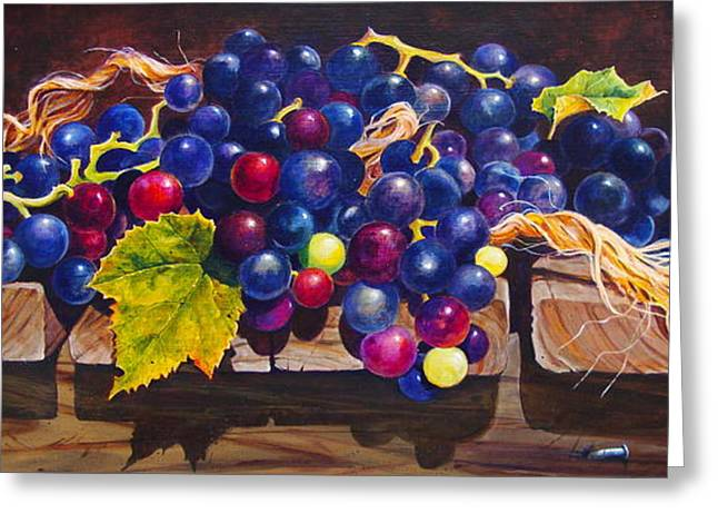 Concord Grapes Greeting Cards - Concord Grapes on a Step Greeting Card by Sarah Luginbill