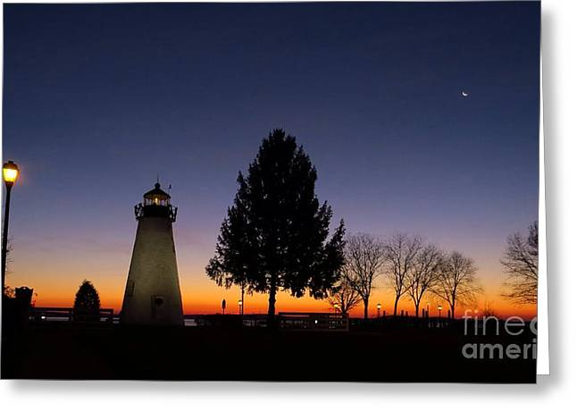 Concord Point Greeting Cards - Concord point lighthouse before dawn Greeting Card by Rrrose Pix