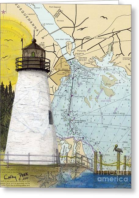 Concord Greeting Cards - Concord Pt Lighthouse MD Nautical Chart Map Art Cathy Peek Greeting Card by Cathy Peek
