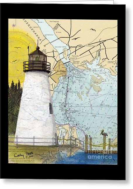 Concord Pt Lighthouse Md Nautical Chart Map Art Cathy Peek Greeting Card by Cathy Peek