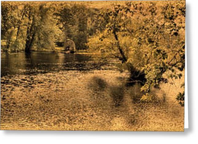 Concord Digital Greeting Cards - Concord River at Old North Bridge Greeting Card by Nigel Fletcher-Jones