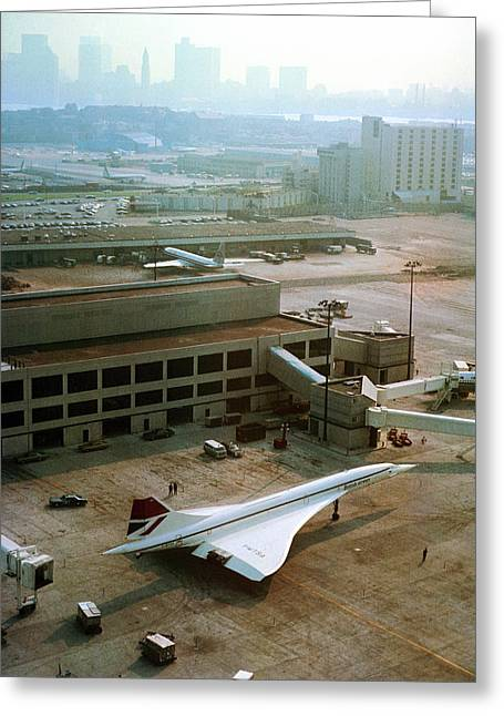 Concorde At An Airport Greeting Card by Us National Archives
