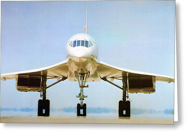 Concorde On Airport Runway Greeting Card by Us National Archives