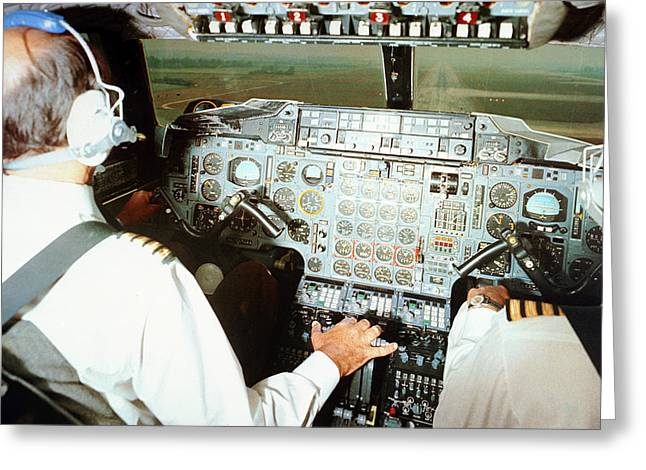 Concorde Pilots In Cockpit Greeting Card by Us National Archives