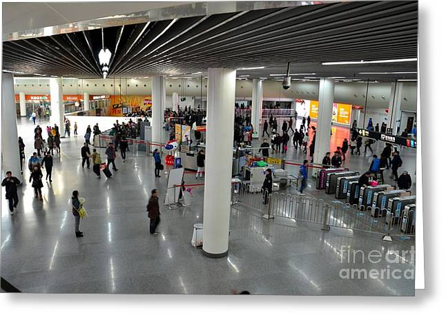 Policewoman Greeting Cards - Concourse at Peoples Square Subway Station Shanghai China Greeting Card by Imran Ahmed