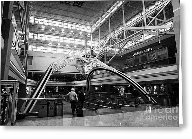 Airport Concourse Greeting Cards - concourse B at Denver International Airport Colorado USA Greeting Card by Joe Fox