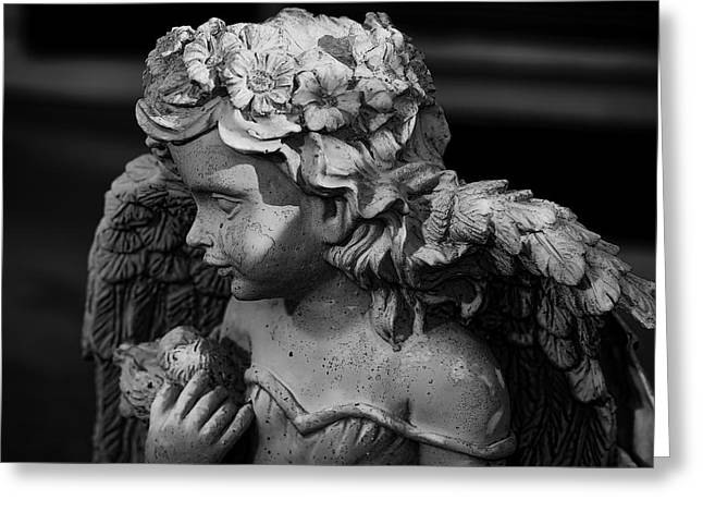 Garden Statuary Greeting Cards - Concrete angel Greeting Card by Berkehaus Photography