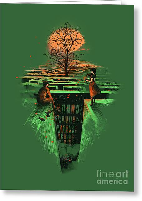Fantasy Tree Greeting Cards - Concrete Maze Greeting Card by Budi Kwan
