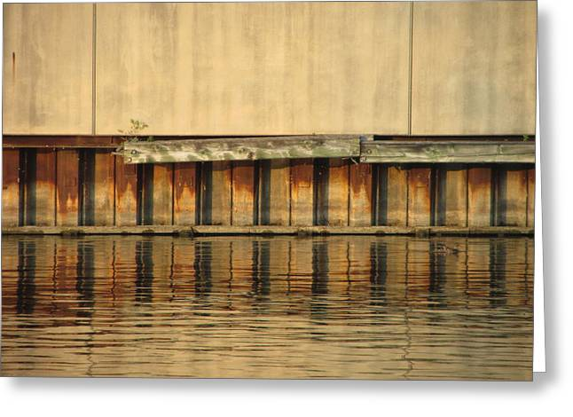 Riverwalk Greeting Cards - Concrete Wall and Water 2 Greeting Card by Anita Burgermeister