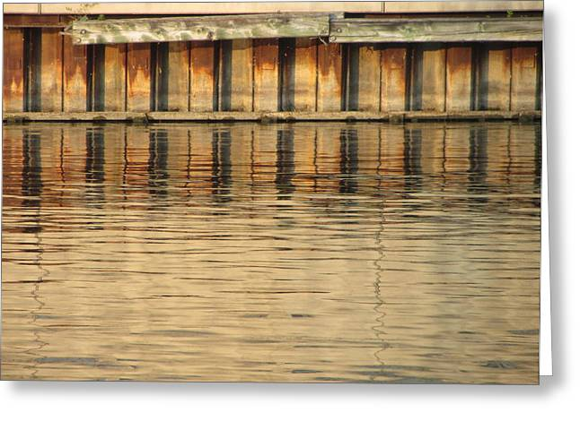 Riverwalk Greeting Cards - Concrete Wall and Water 3 Greeting Card by Anita Burgermeister