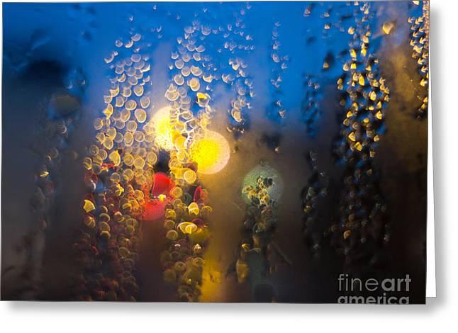 Rain Streaked Window Greeting Cards - Condensation 90 - Sayonara Greeting Card by Pete Edmunds